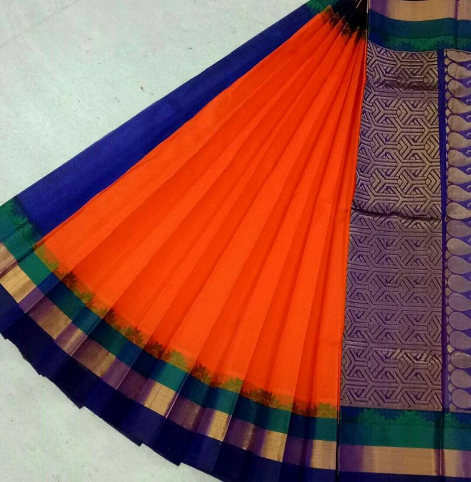 Pure Kanchipuram Silk Cotton Saree - HSC 376